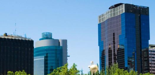 Vista de tipo skyline de la zona financiera de Madrid.