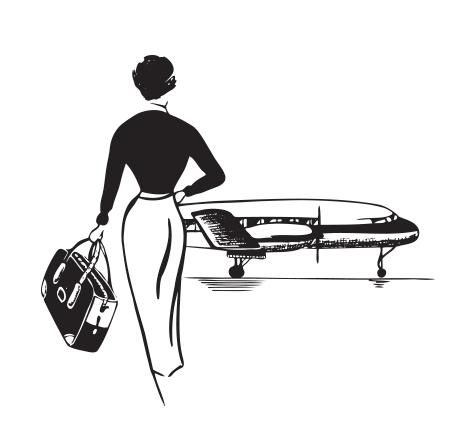 Viajera de negocios subiendo avión