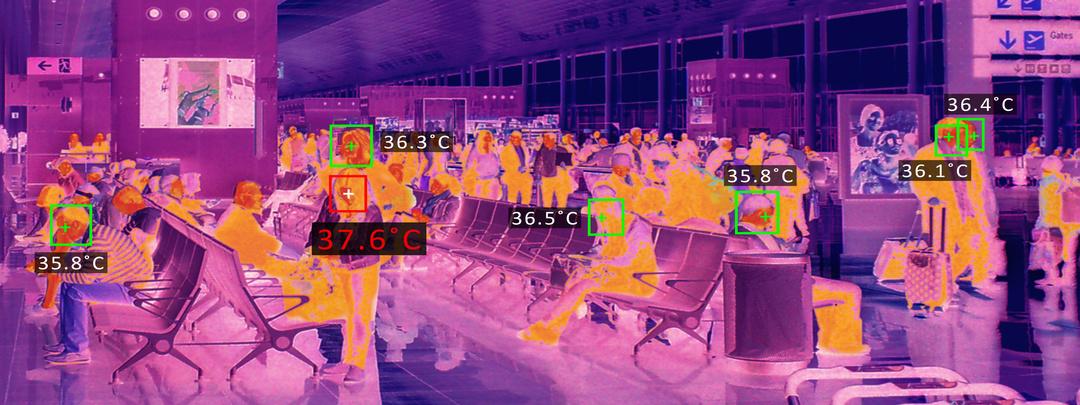 Cámara térmica en aeropuerto