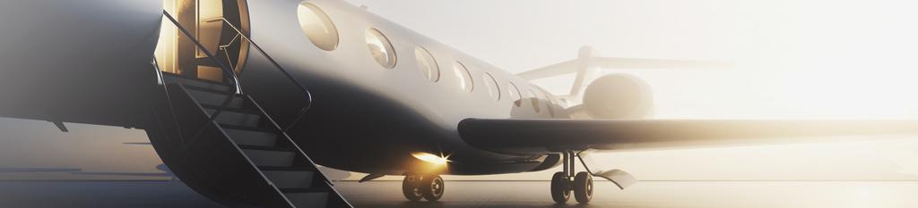 jet privado con escalerilla de acceso